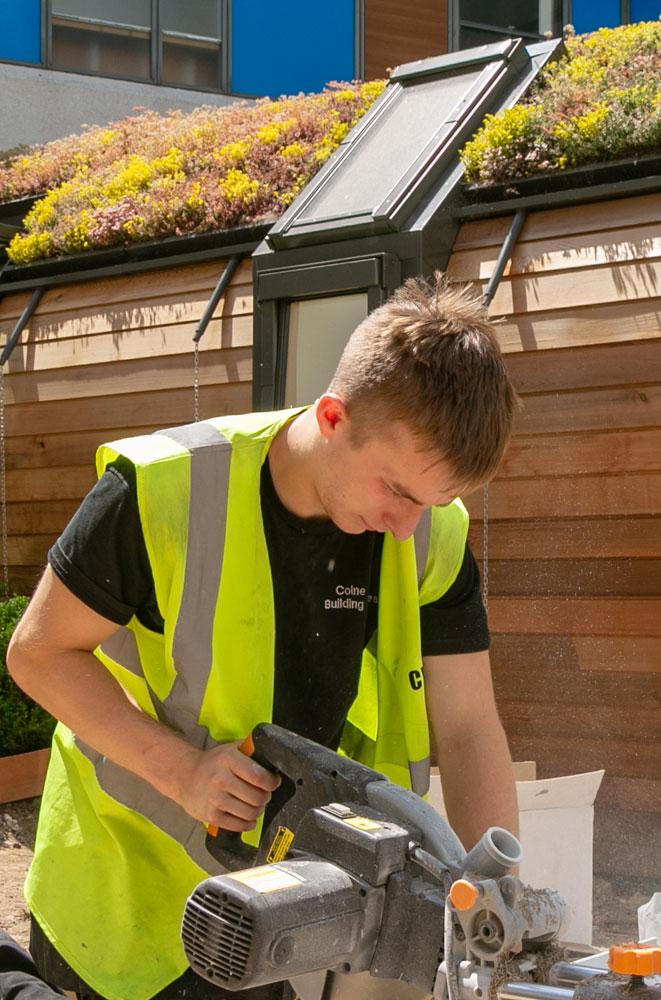 Green unit roof window installation