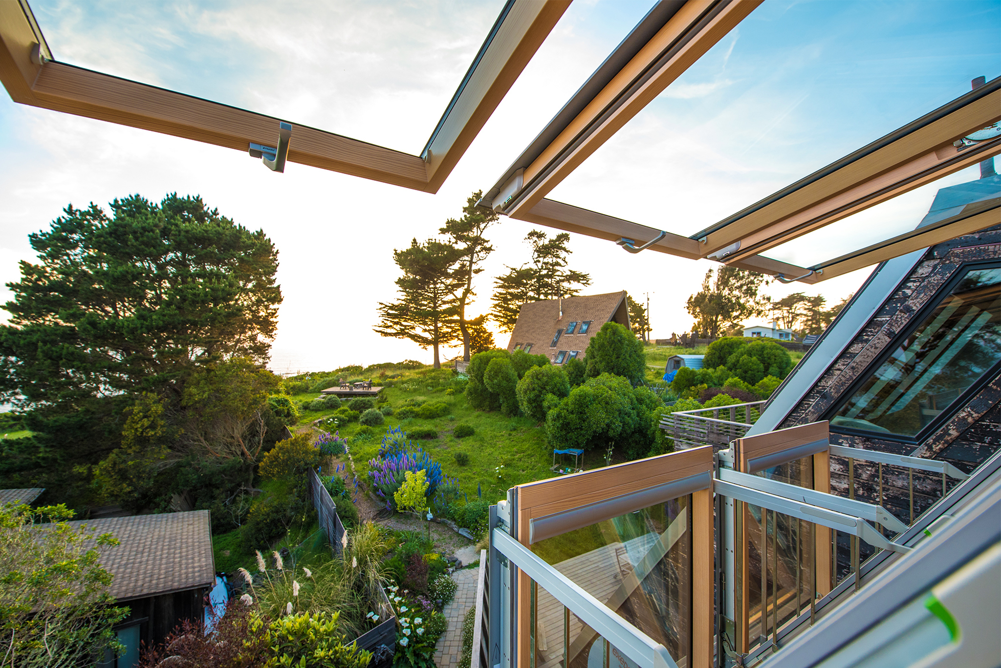 Balcony windows overlooking garden