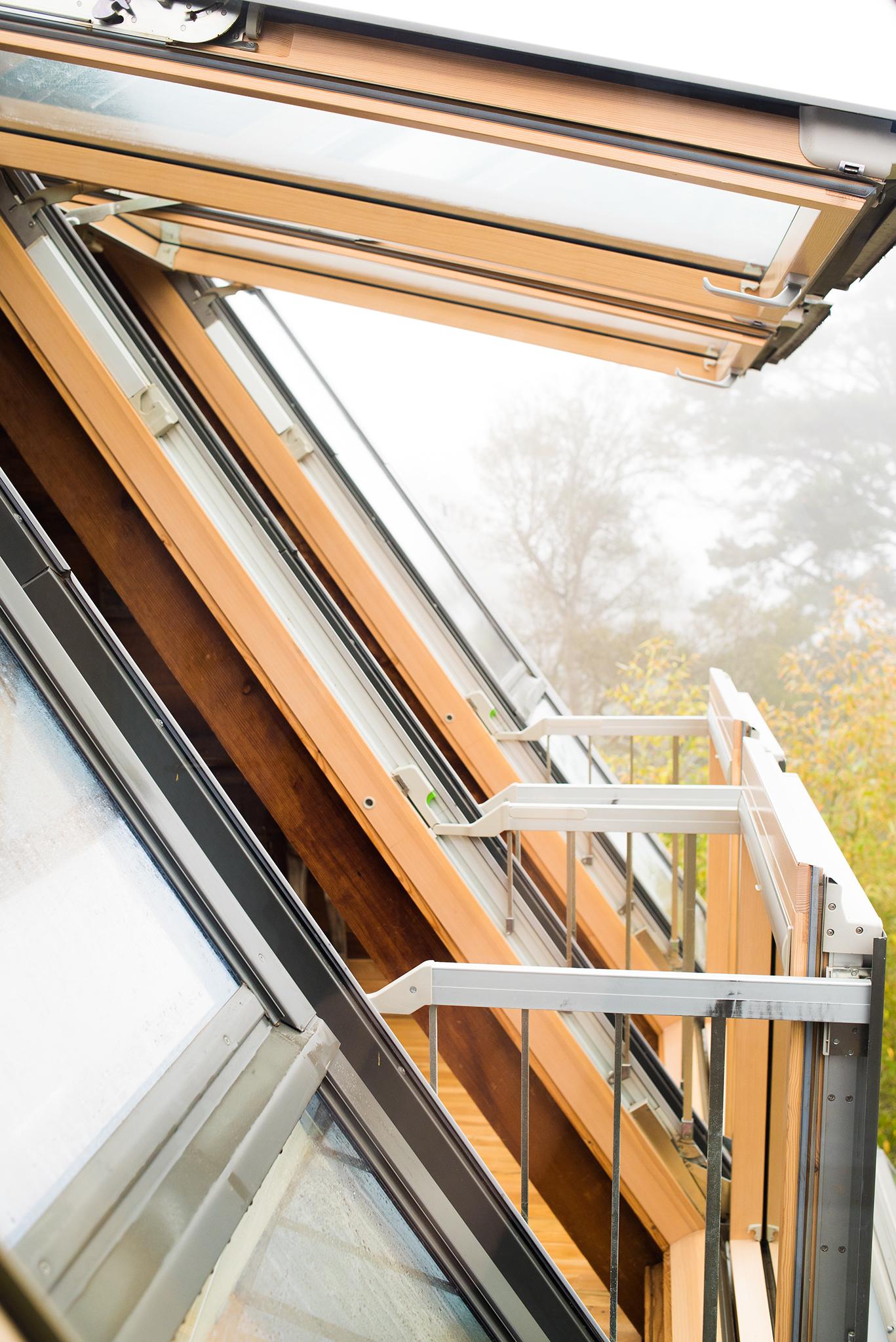 Close up of balcony roof window