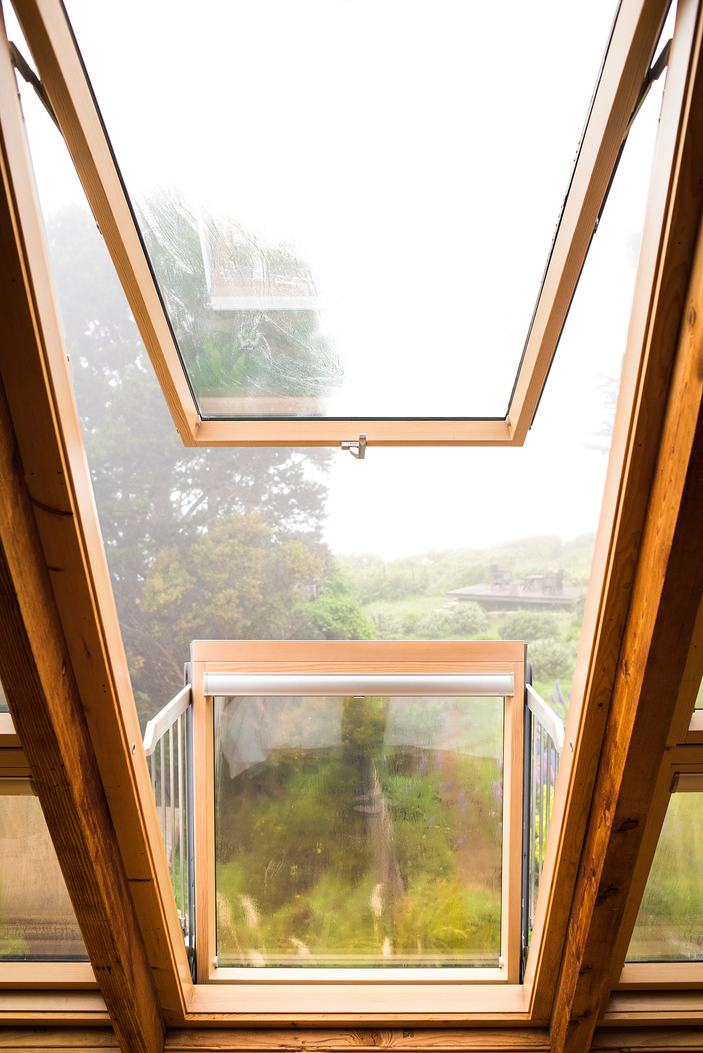 Close up of open balcony roof window