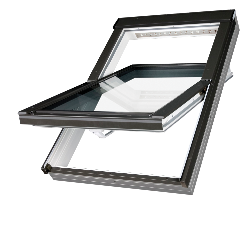 Close up of PVC, centre pivot roof windows