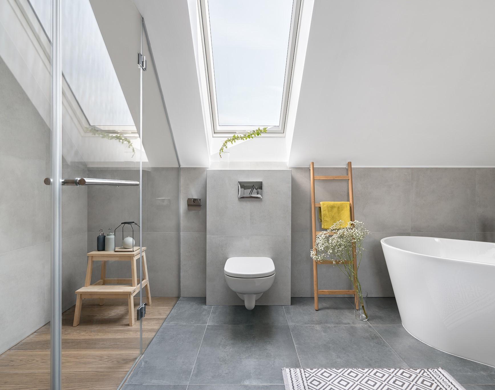 PVC roof window in bathroom