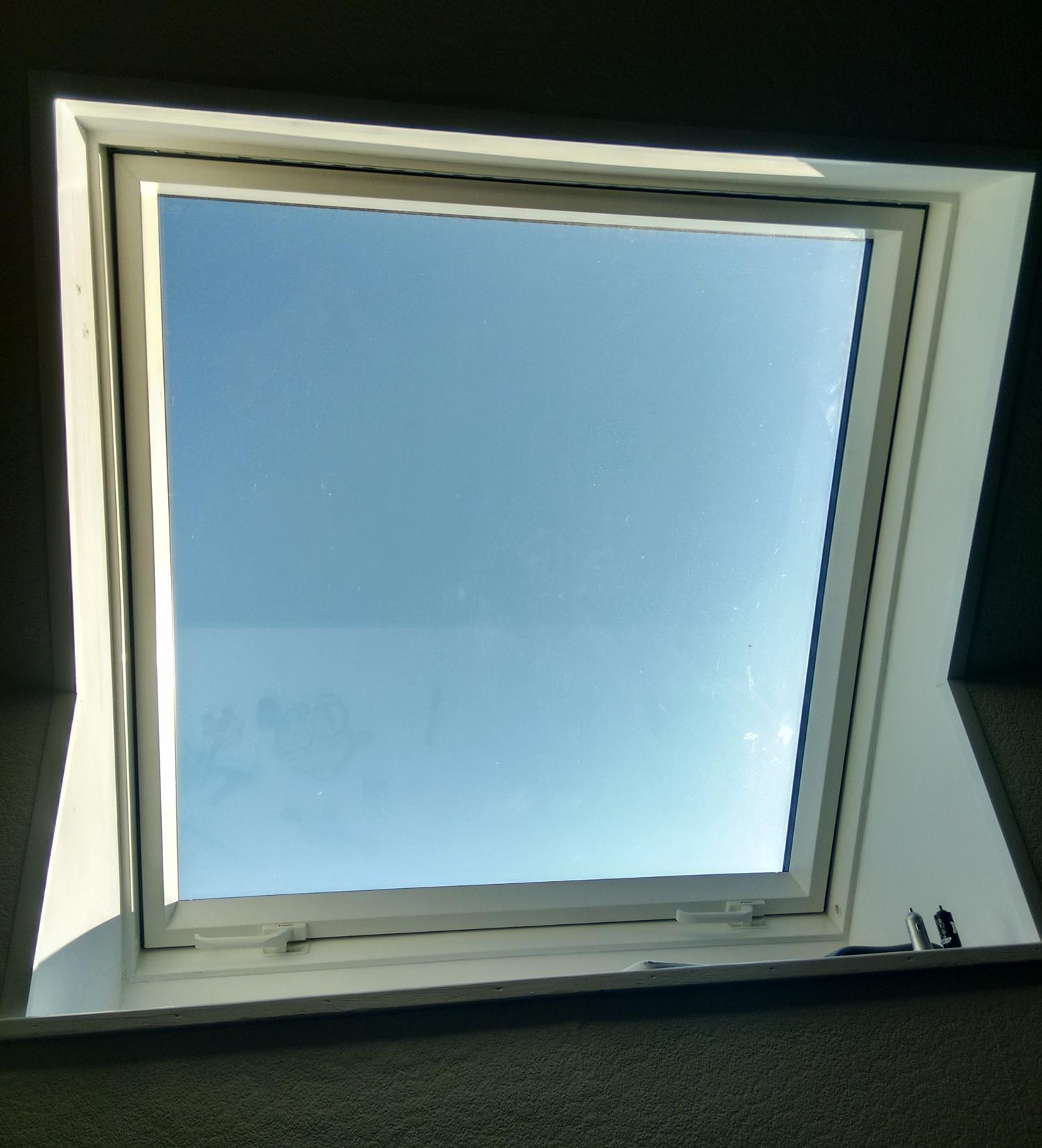 Internal shot of closed PVC roof window