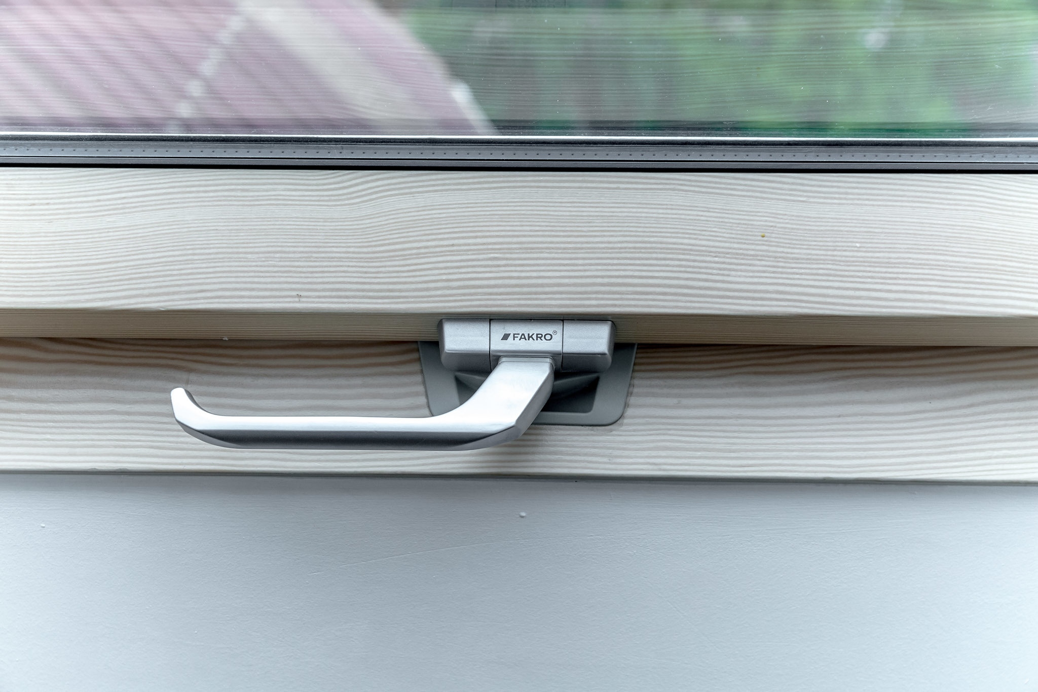 Close up of FAKRO roof window handle