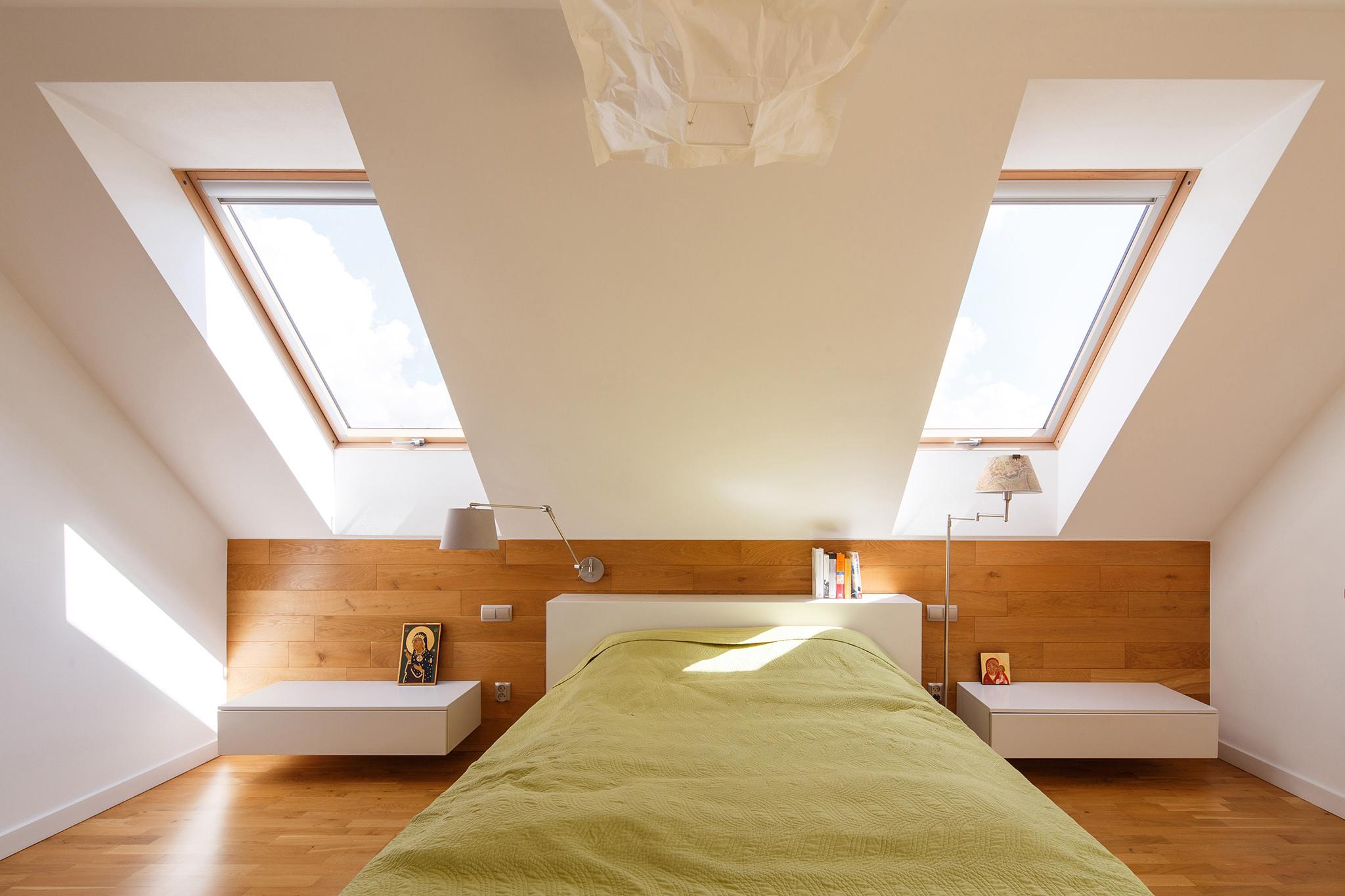 FAKRO roof windows in bedroom
