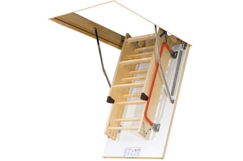 Wooden loft ladder folded up