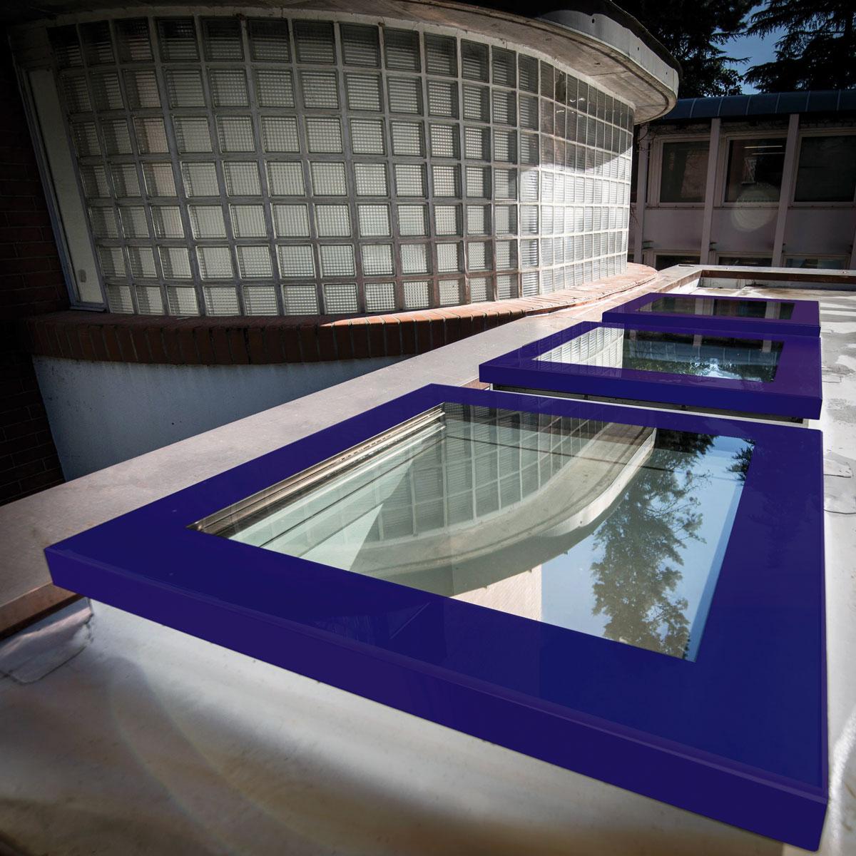 coloured flat roof window