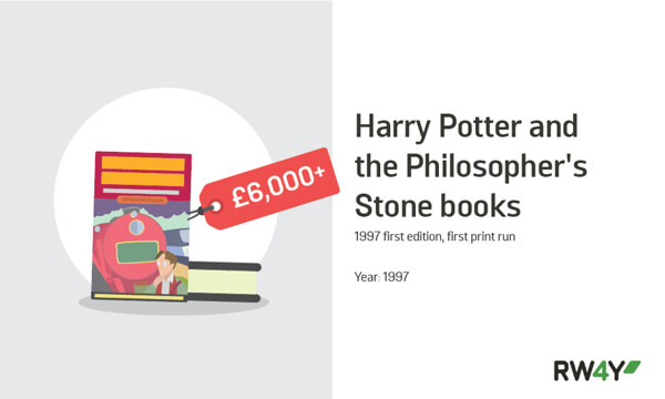 Harry Potter and the Philosophers Stone books value graphic RW4Y