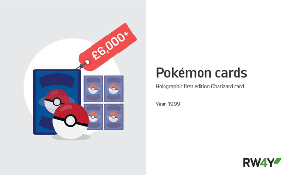 Holographic first edition Charizard card value graphic RW4Y