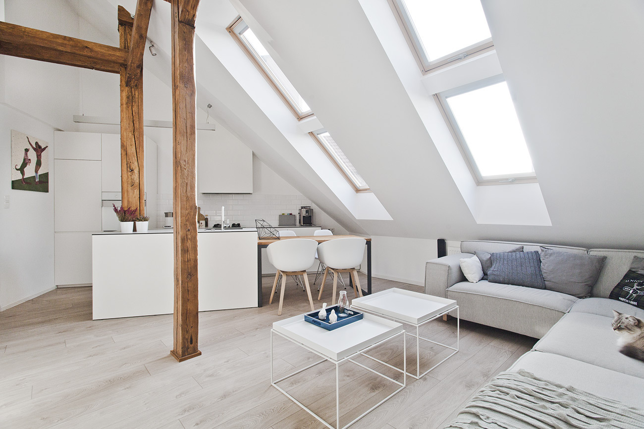 Wooden beams and support in a loft conversion
