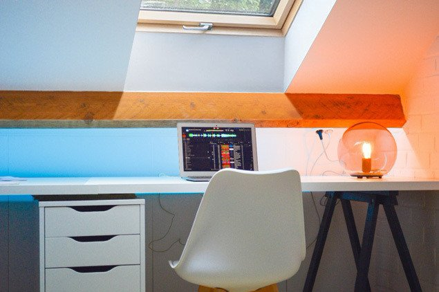 Loft office with roof window