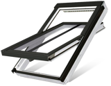 White acrylic centre pivot roof window