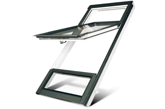 High pivot white polyurethane roof window